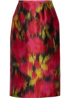 Michael Kors Printed wool and silk-blend twill skirt