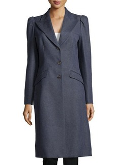 Michael Kors Puff-Shoulder 3-Button Coat