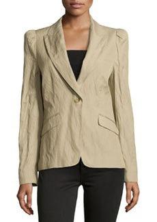 Michael Kors Puff-Shoulder One-Button Crinkled Jacket, Sand