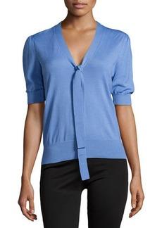 Michael Kors Puff-Sleeve Front-Tie Sweater