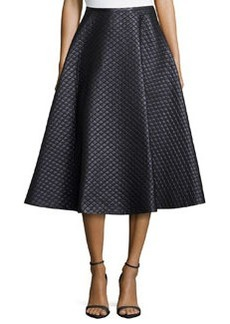 Michael Kors Quilted Bias Circle Skirt, Black
