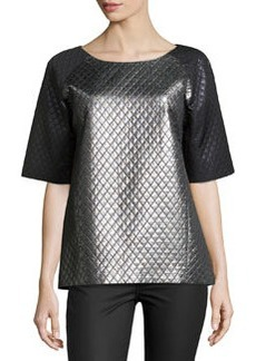 Michael Kors Quilted Laminated Colorblock Tunic, Silver