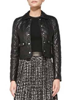 Michael Kors Quilted Leather Cropped Jacket