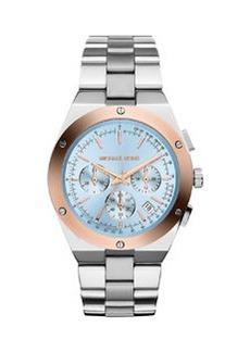 Michael Kors Reagan Stainless Steel/Rose Golden Blue-Dial Chronograph Watch