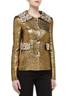 Michael Kors Rhinestone Studded Brocade Jacket, Gold