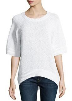 Michael Kors Rib-Trim Boucle Sweater, White