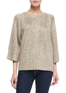 Michael Kors Rib-Trim Metallic Sweater