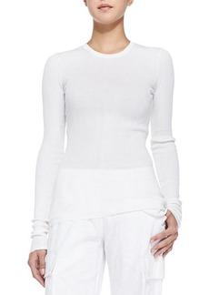 Michael Kors Ribbed Crewneck Sweater, White