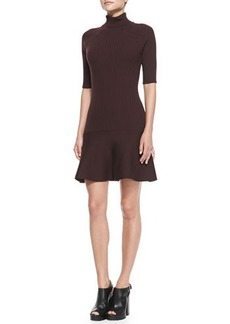 Michael Kors Ribbed Flare-Hem Turtleneck Dress