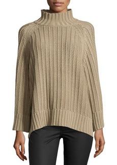 Michael Kors Ribbed Shaker-Knit Sweater, Sand