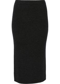 Michael Kors Ribbed wool-blend midi skirt