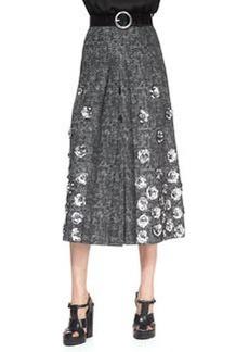Michael Kors Rose-Applique Wool Skirt
