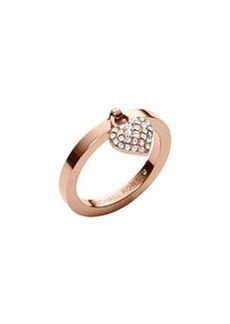 Michael Kors Rose Golden Pave Puffy Heart Charm Ring