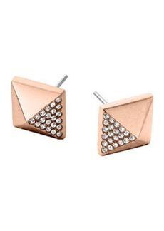 Michael Kors Rose Golden Pave Pyramid Earrings