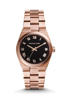 Michael Kors Rose Gold–Tone & Genuine Onyx Channing Watch, 38mm