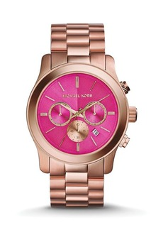 Michael Kors Rose Gold–Tone & Pink Runway Watch, 45mm