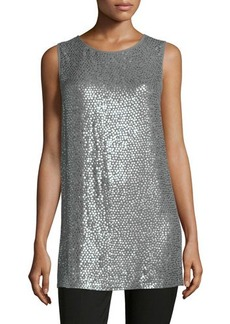 Michael Kors Round-Neck Paillette Long Tank
