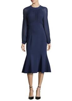 Michael Kors Ruched Front Flounce Dress, Indigo