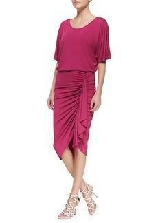 Michael Kors Ruched-Skirt Jersey Dress, Peony