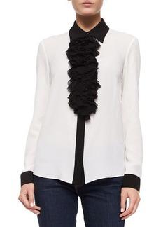 Michael Kors Ruffle-Front Long-Sleeve Blouse, White