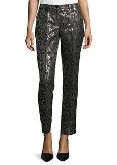 Michael Kors Samantha Brocade Skinny Pants, Graphite