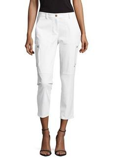 Michael Kors Samantha Cargo Cropped Pants, Optic White