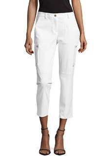 Michael Kors Samantha Cargo Cropped Pants, Optic White