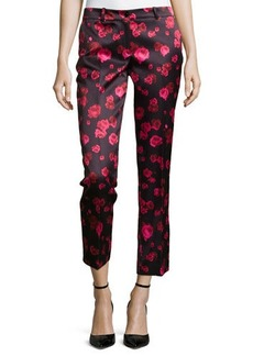 Michael Kors Samantha Cropped Floral-Print Pants, Rose/Black
