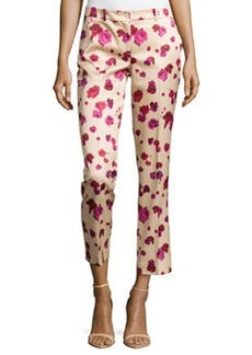 Michael Kors Samantha Cropped Floral-Print Pants, Rose/Nude