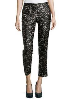 Michael Kors Samantha Cropped Lace-Print Pants, Black/Nude