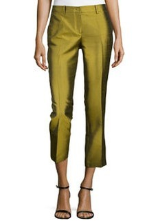 Michael Kors Samantha Cropped Shantung Pants, Leaf