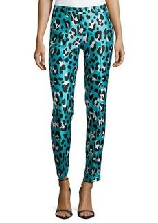 Michael Kors Samantha Leopard-Print Skinny Pants, Aqua