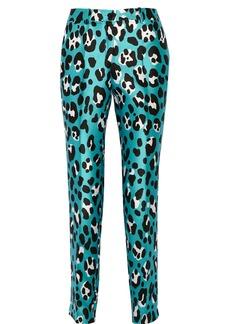 Michael Kors Samantha leopard-print wool and silk-blend straight-leg pants