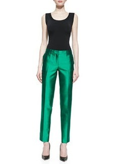 Michael Kors Samantha Slim Shantung Pants, Emerald
