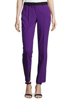Michael Kors Samantha Two-Tone Slim Pants, Grape