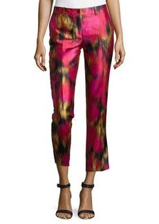 Michael Kors Samantha Zinnia-Print Pants, Rose/Leaf/Black