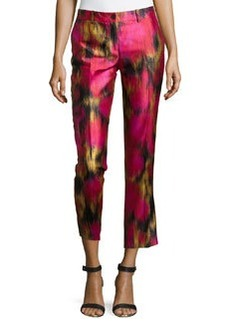 Michael Kors Samantha Zinnia-Print Pants, Rose/Leaf/Black