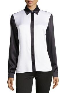 Michael Kors Satin Charmeuse Colorblock Shirt, White