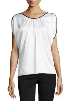 Michael Kors Satin Charmeuse Top with Binding, White