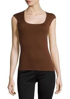 Michael Kors Scoop-Neck Cap-Sleeve Cashmere Top