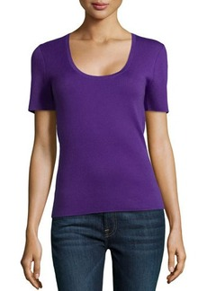 Michael Kors Scoop-Neck Short-Sleeve Cashmere Top, Grape