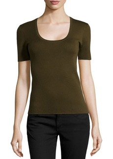 Michael Kors Scoop-Neck Short-Sleeve Cashmere Top, Olive