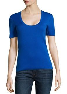 Michael Kors Scoop-Neck Short-Sleeve Cashmere Top, Royal