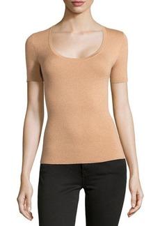Michael Kors Scoop-Neck Short-Sleeve Cashmere Top, Suntan