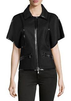 Michael Kors Sculpted Wool Taped Jacket, Black