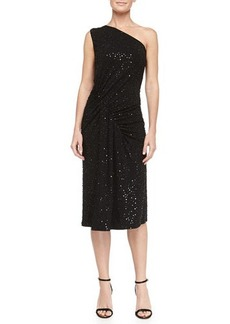 Michael Kors Sequined Asymmetric-Ruched Jersey Dress