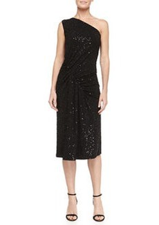 Michael Kors Sequined Asymmetric-Ruched Jersey Dress, Black