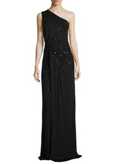 Michael Kors Sequined One-Shoulder Ruched Gown, Black