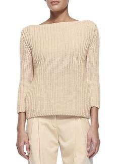 Michael Kors Shaker-Knit Cashmere Boat-Neck Sweater