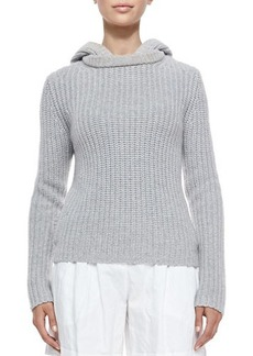 Michael Kors Shaker-Knit Cashmere Hoodie, Pearl Gray